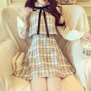 Black and White Tweed One Piece Dress with Bow
